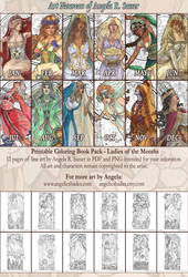 Ladies of the Months Coloring Pack by AngelaSasser
