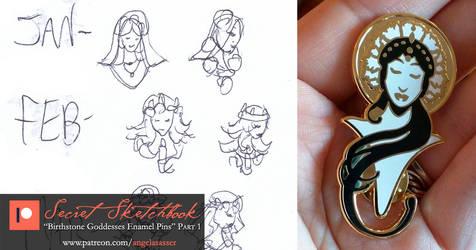 Secret Sketchbook: Birthstone Enamel Pins Part 1 by AngelaSasser