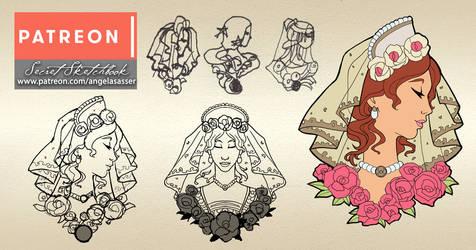 Goddesses of Summer Enamel Pins - Design Sketches