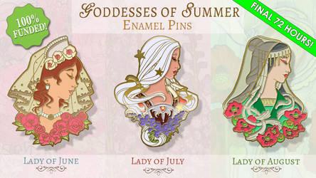 Goddesses of Summer Enamel Pins - Mockup Set