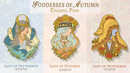 Goddesses of Autumn Pin Designs
