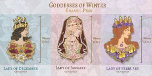 Enamel Pin Concepts - Goddesses of Winter
