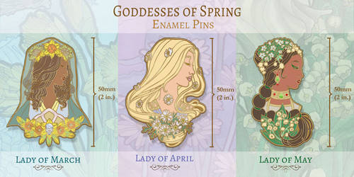 Enamel Pin Concepts - Goddesses of Spring