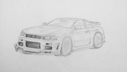 Nissan Skyline GT-R R34 Drawing