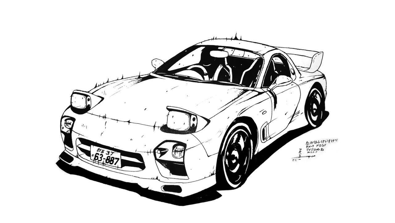 D Line Drawings : Takahashi keisuke s fd initial d by abdallahfoley on
