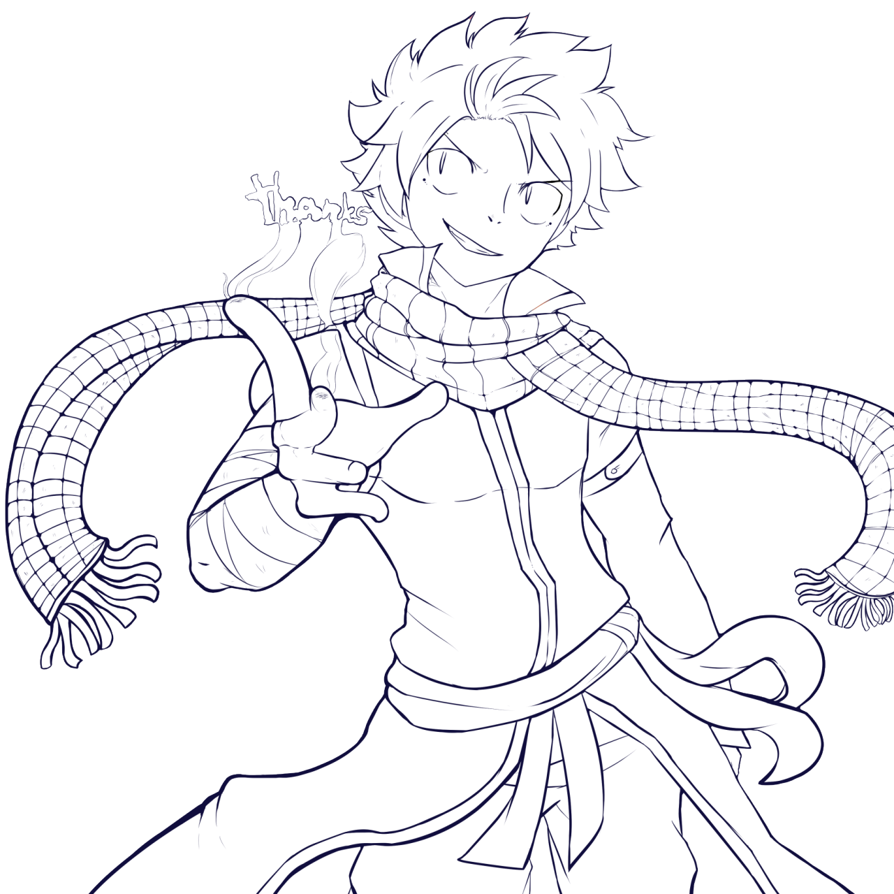 Natsu Lineart : Natsu lineart free to colour by shadoouge on deviantart