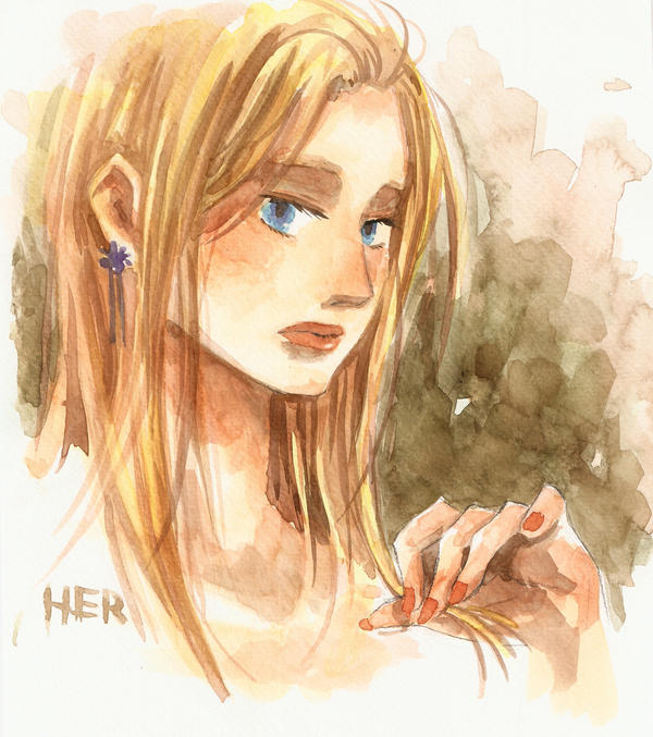 blonde hair girl by herhuahed