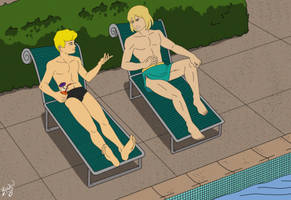Jonny and Dorno by Pool by Bowen12a, commissioned by korak225