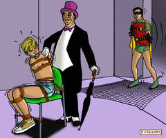 Robin, Penguin, and Sandy in bondageincomics by korak225
