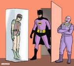Batman, Robin, and Mr. Freeze by bondageincomics