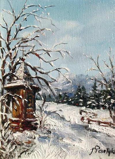 A wayside shrine in winter