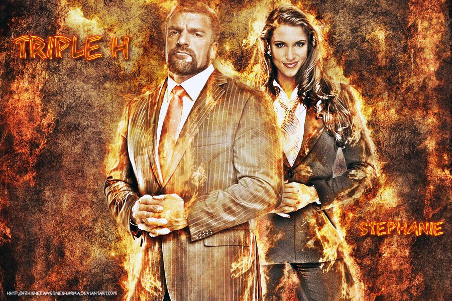 Triple H And Stephanie Wallpaper By Abhishekawsomesharma