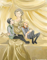 Little Asgardian Princes with their Mother by Dver