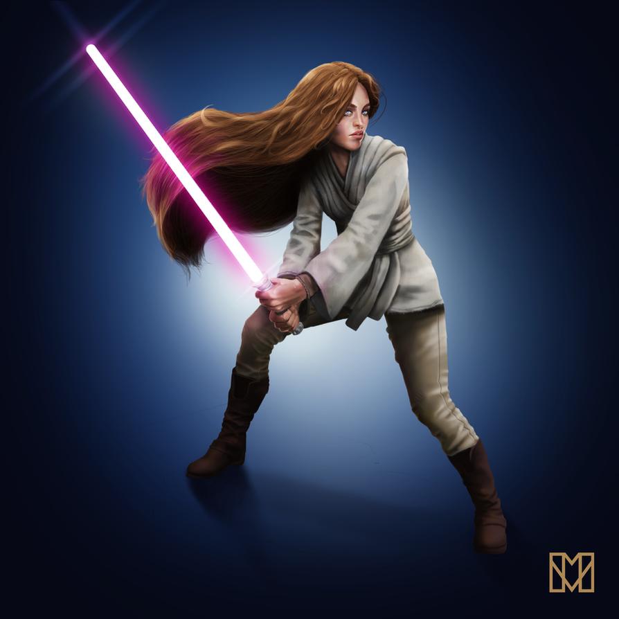 Female Jedi by BluefireArt