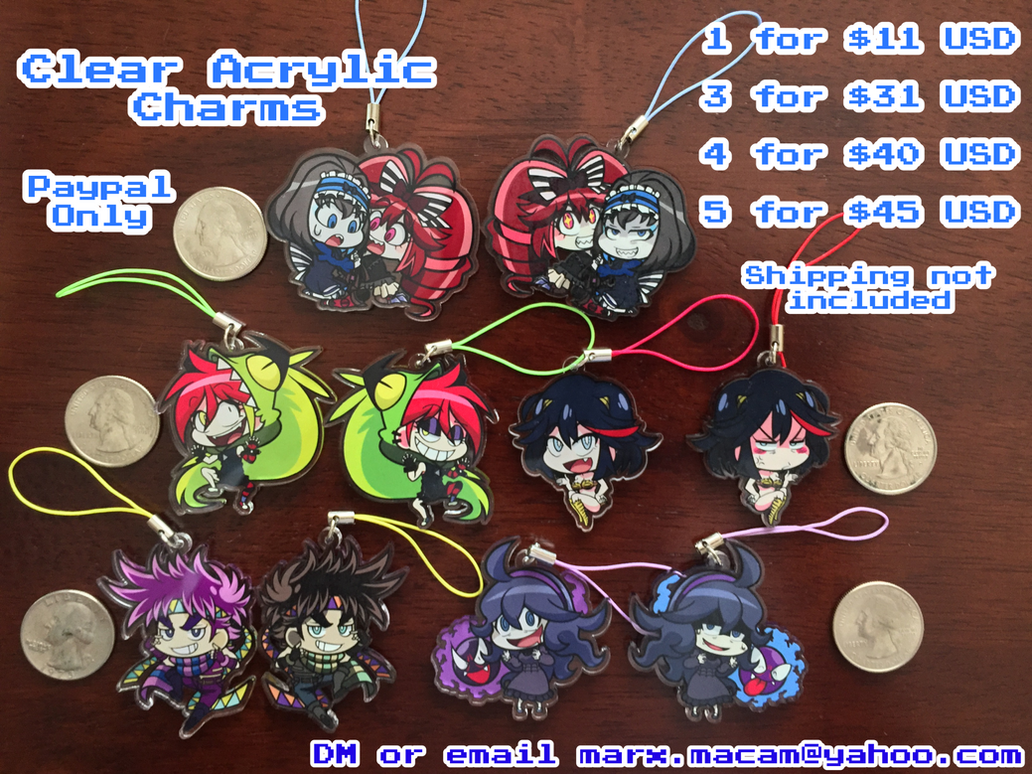 Acrylic Charms for Sale! by mergeritter
