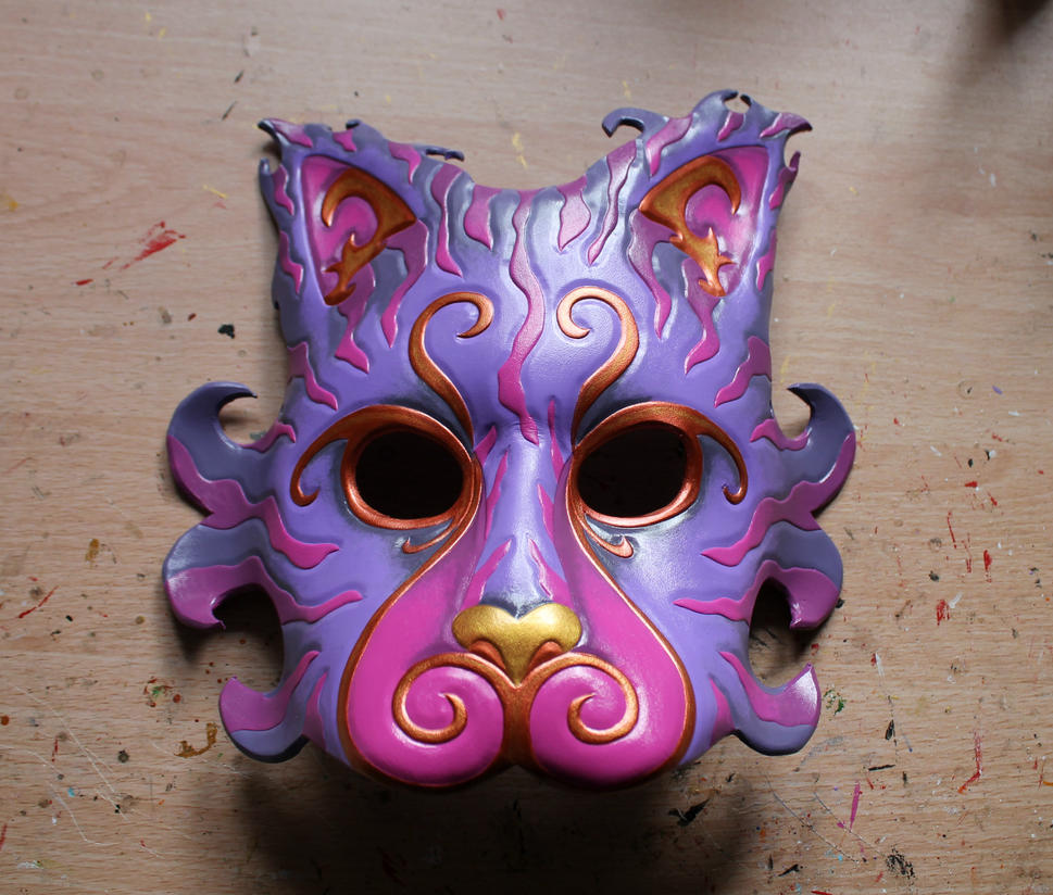 Cheshire Cat leather mask by ShadowFoxLeatherwork