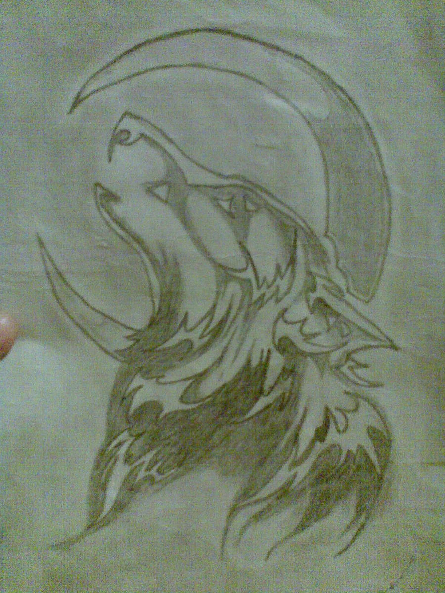 a wolf howling at the moon by happy197 on deviantart