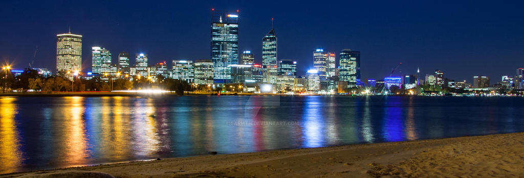 Perth Cityscape at Night on the Swan River by sarmth on DeviantArt