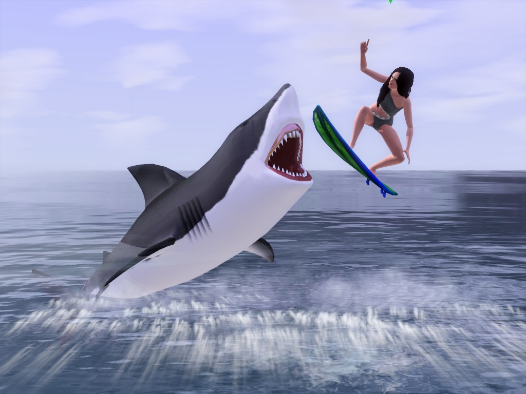 how to get eaten by a shark on sims 3
