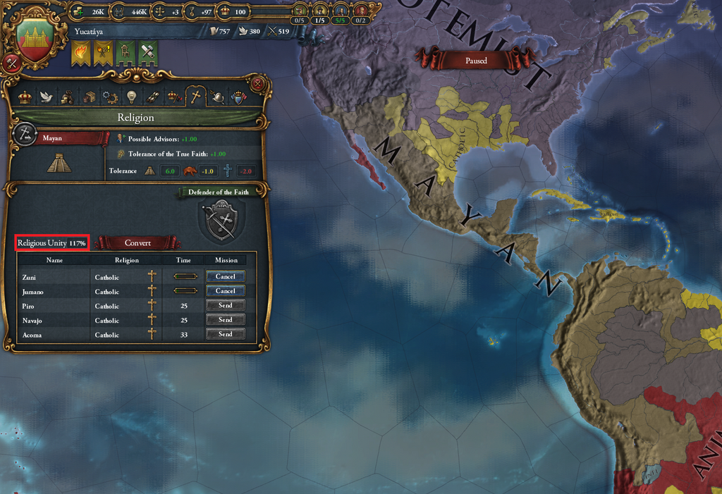 I can't seem to reform the Mayan religion  | Paradox