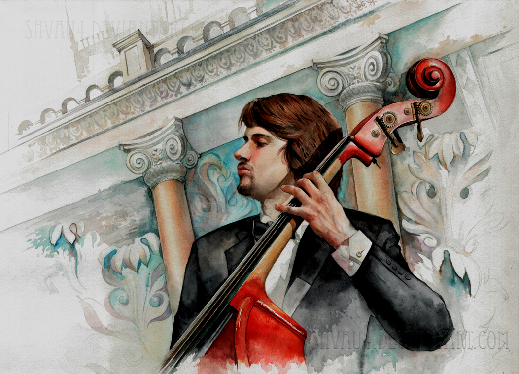 Doublebass - Watercolour Portrait by shvau4