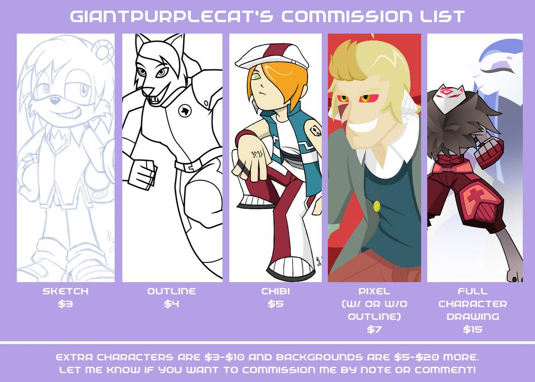 Commission list by GiantPurpleCat