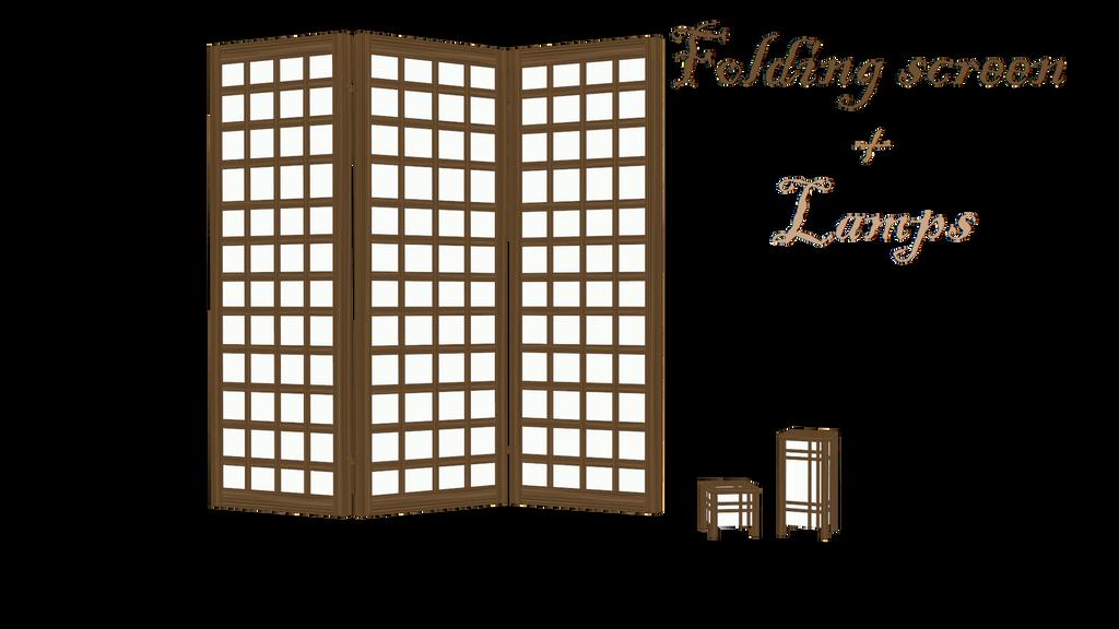[MMD] Folding Screen + Lamp by LoreneMMD