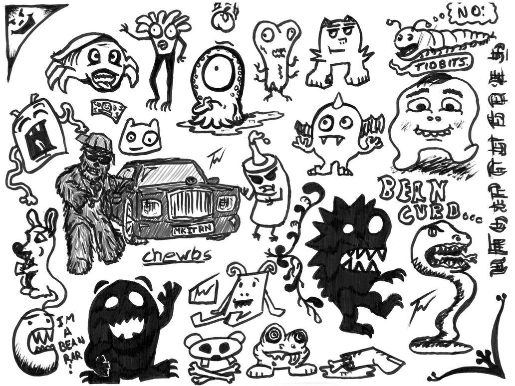 Monster doodles and chewie by wordofwar on deviantart for Doodle art monster