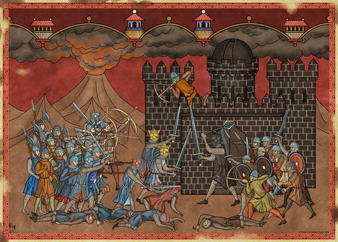 Isildur and Elendil fighting Sauron