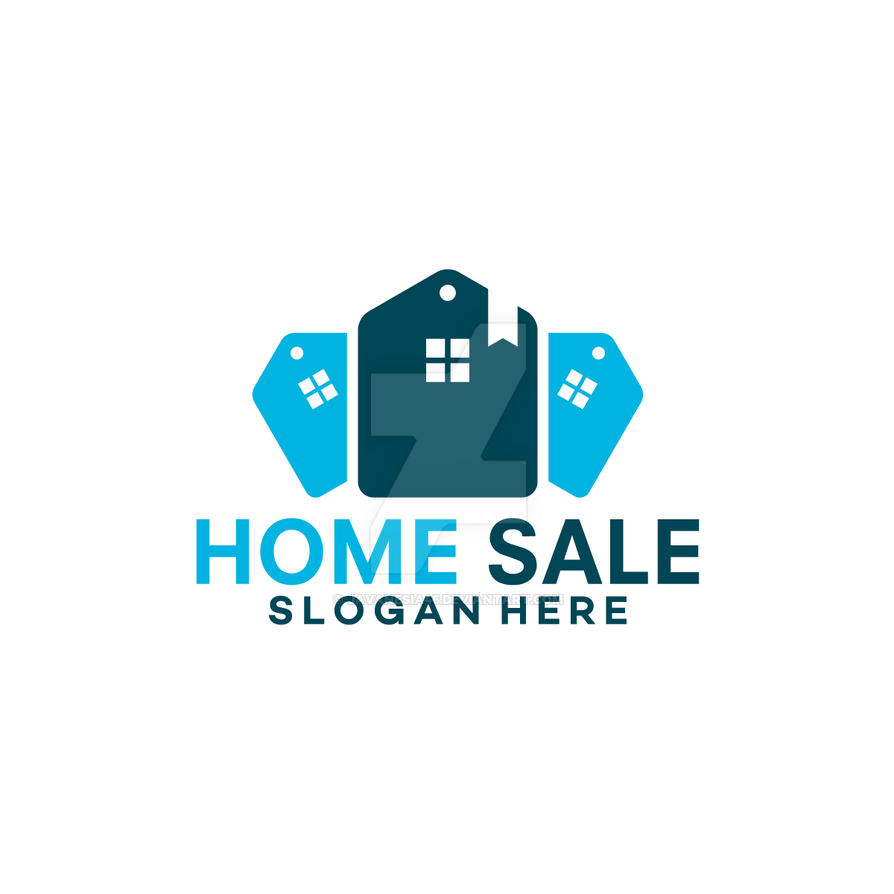 Modern blue home house sale logo template by javanesia45 for Modern house logo