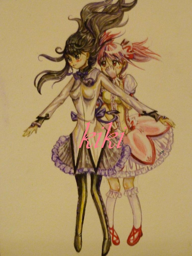 Madoka Magica Watercolour by Kiki-Tanoshii