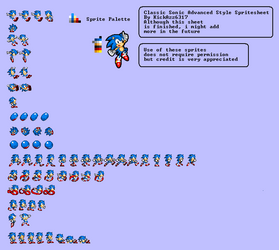 Classic Sonic In Advanced Style Sheet Version 1.3 by KickAzzGaming