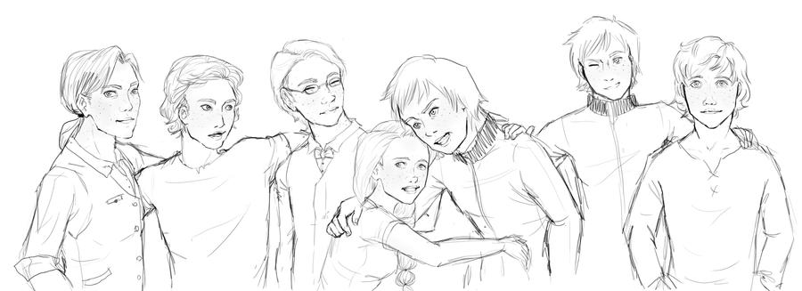 The Weasley Kids - line art by Nanamy