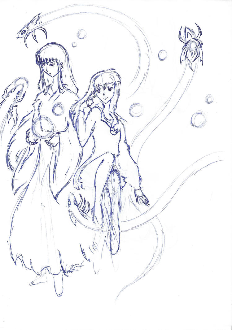 Kikyou and Kagome Sketch by TheDemonofDesire