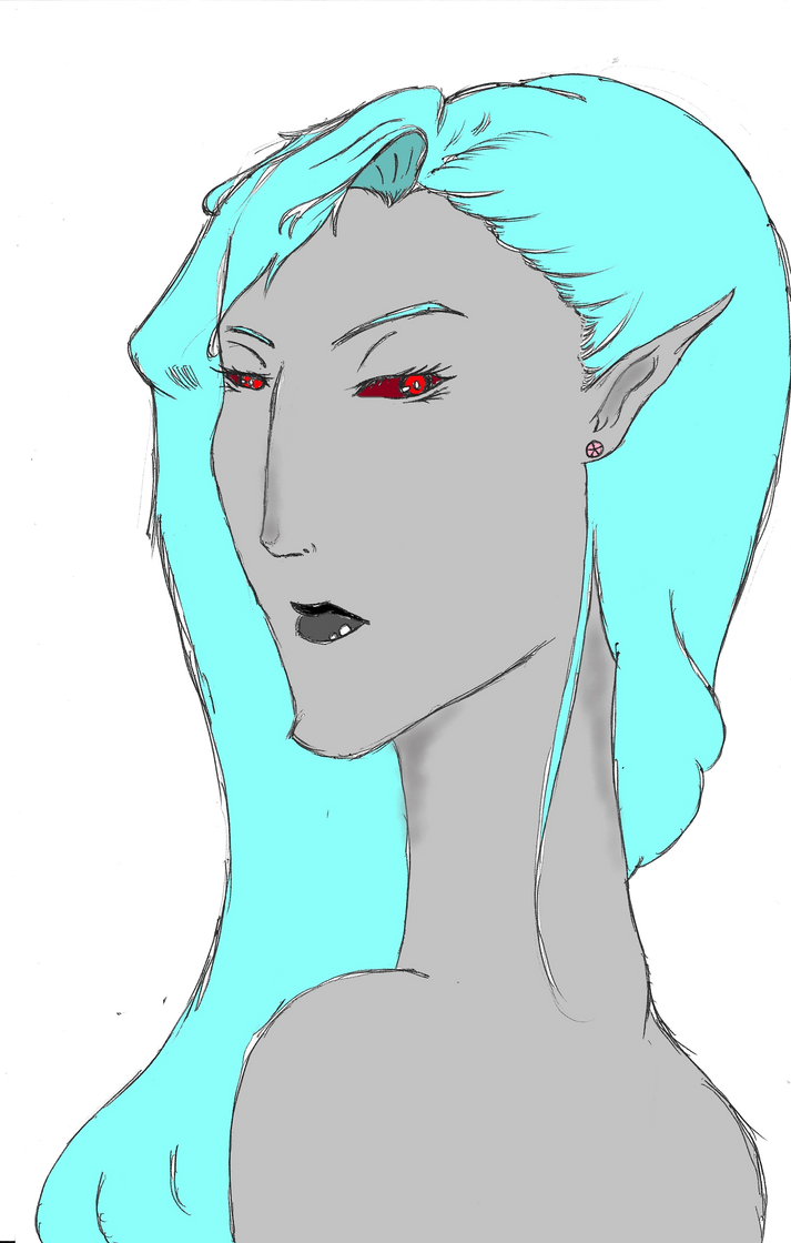 Blue Haired Dunmer by TheDemonofDesire