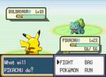 Pikachu battles Bulbasaur