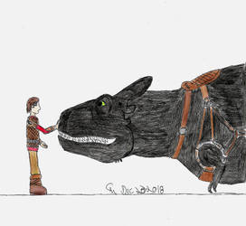 Hiccup and Toothlessarus Rex by fatthoron