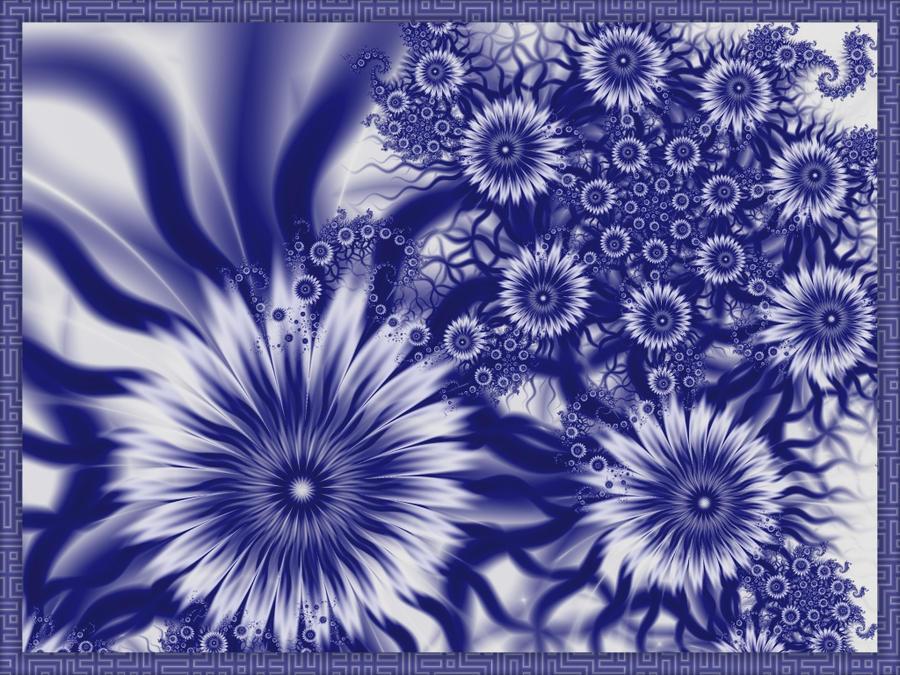 Fractal blue and white porcelain -2 by fengda2870