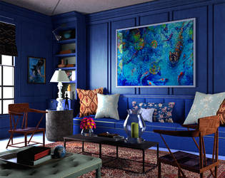 3D Blue Living-Room by ThatxDamnxGirl