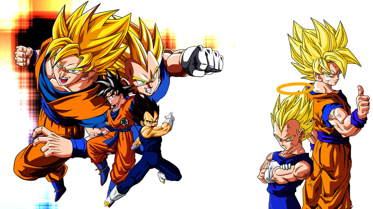 Dibujo De Goku Kakarotto Peleando Contra Vegeta Para: Goku And Vegeta By Son-Of-Bardock On DeviantArt