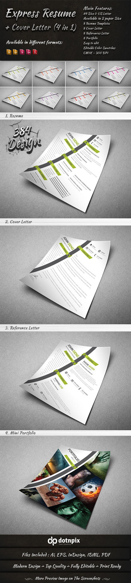 Express Resume - Cover Letter (4 in 1) by dotnpix