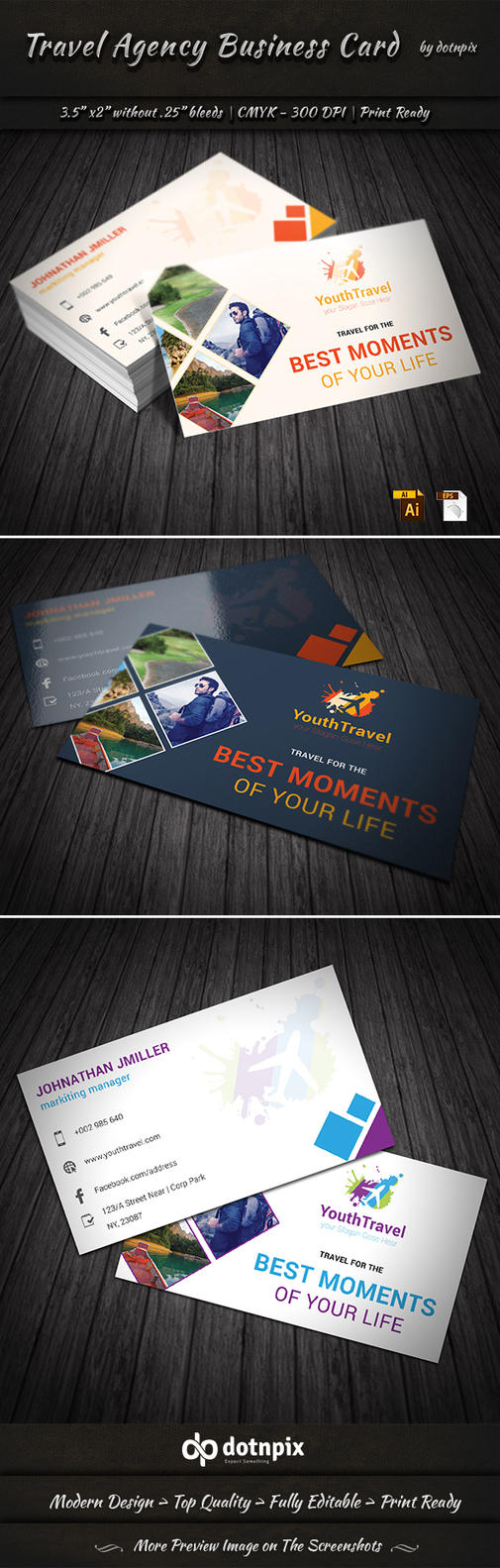 Travel Agency Business Card by dotnpix