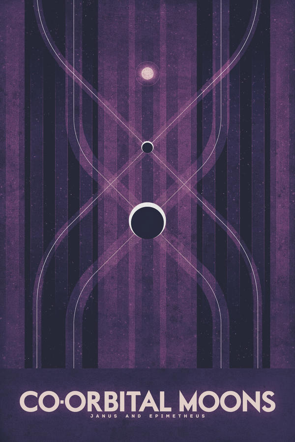 Co-Orbital Moons - Space Poster by FabledCreative