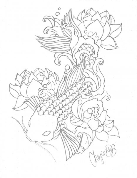 Line Drawing Koi Fish : Koi fish line art by cheyenneautumn on deviantart