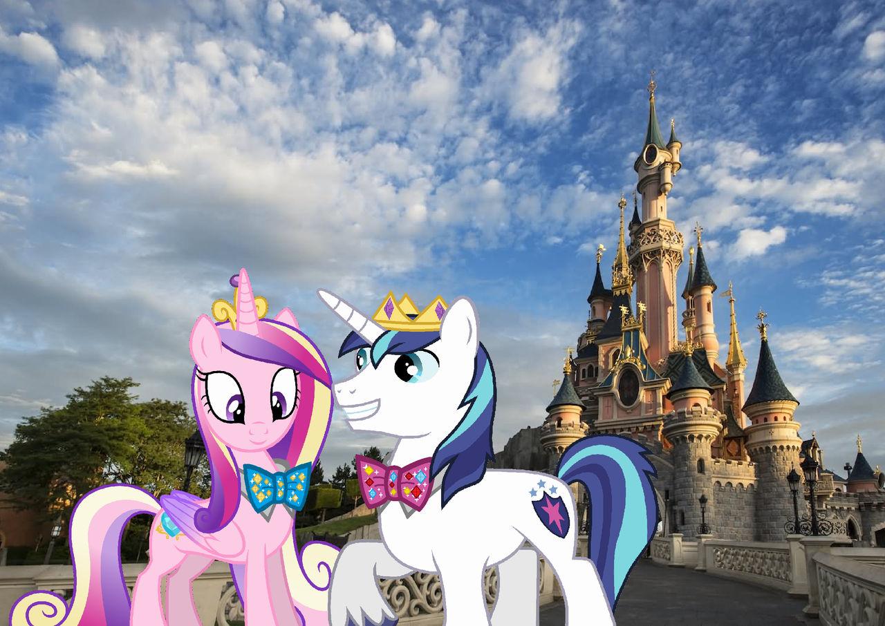 The royal unicorn bow tie couple in Disneyland