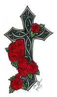 Gothic Cross with Roses