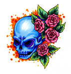 Colored Skull and Roses