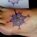 Jalapeno Blossom Compass Tattoo