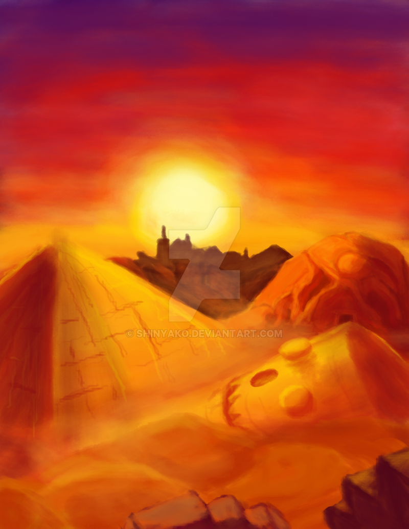 Sunsets over the forgotten desert by Shinyako