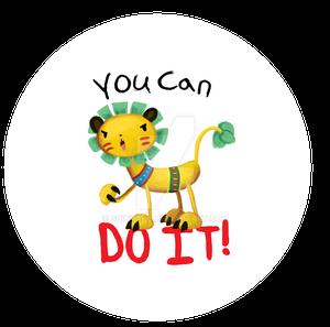 Growling Lion Encouragement Button
